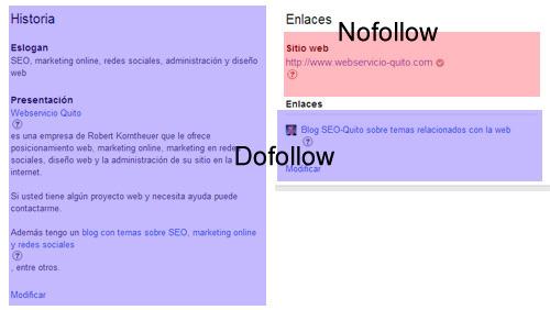 enlaces de un perfil profesional - página de empresas - de google+