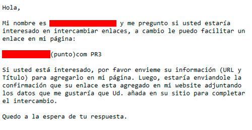 intercambiar enlaces, una propuesta que llegó por email