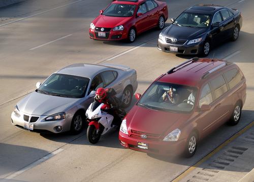 Lane splitting motorcycle