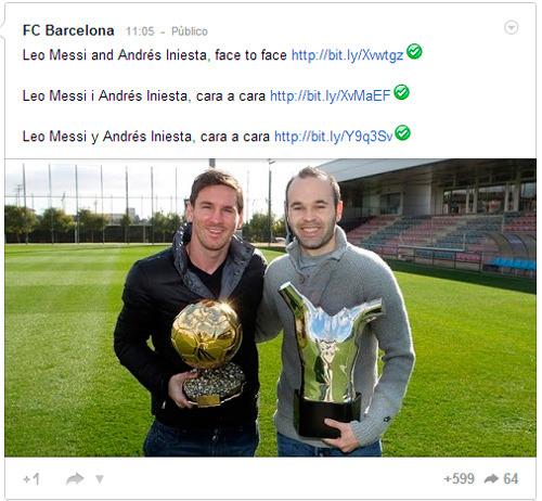 Los publicaciones del FC Barcelona en Google+ son escritos en varios idiomas