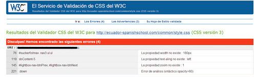 Servicio para revisar el código css de una página web
