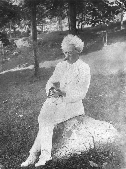 Mark Twain with kitten, in 1907 - Wikipedia image
