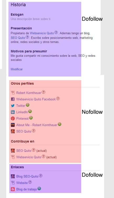 links nofollow y dofollow en un perfil de google+