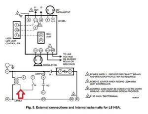 Nest Thermostat and Honeywell L8148A Aquastat