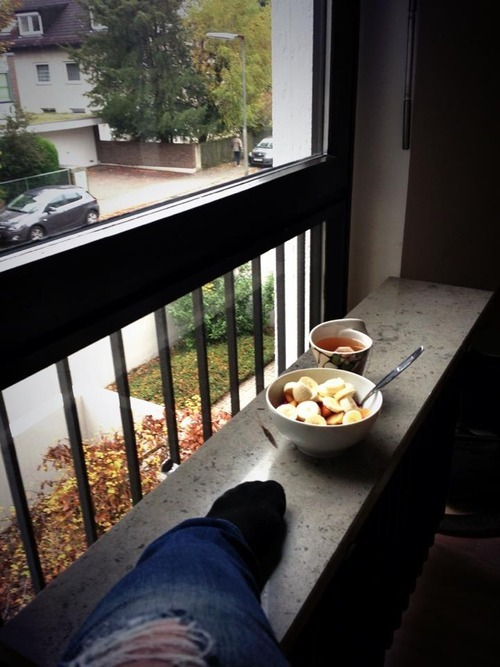 First breakfast at the new apartment.