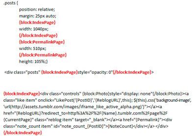 código html y css de Tumblr