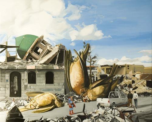 Caídos del Cielo. Superman y pájaros  Acrílico sobre tela  170 x 200 cm  2012