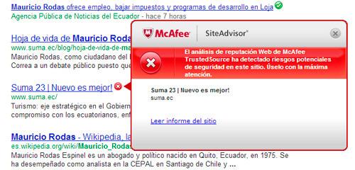 Advertencia de SiteAdvisor: la página de Suma podría ser peligroso para tu computadora