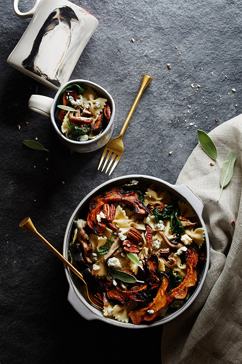 browned butter pasta with squash and sage vegetarian
