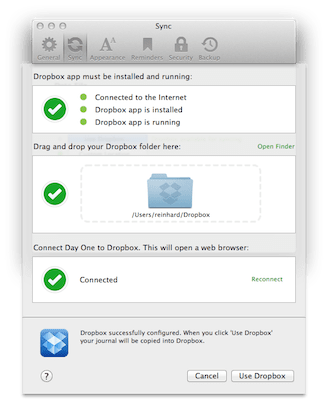 Day One: Sync With Dropbox