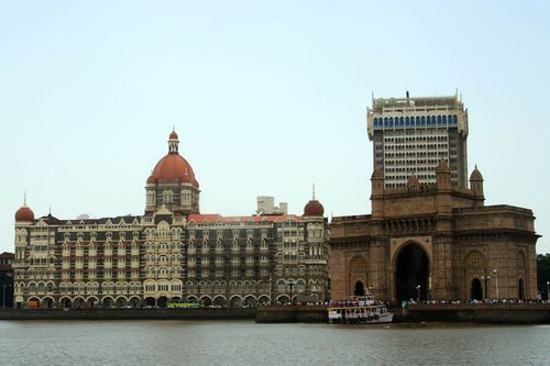 VIEW OF THE TAJ MAHAL HOTEL AND THE GATEWAY OF INDIA