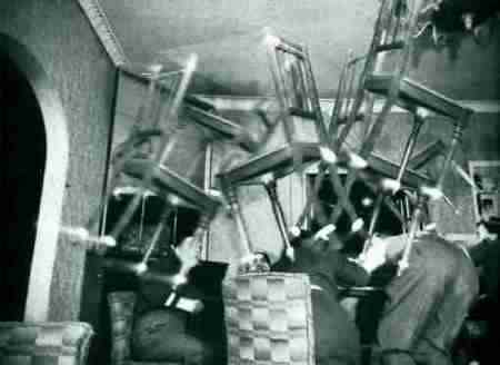 Poltergeist activity throwing chairs across room