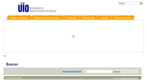 búsqueda por vuelos en la página web del nuevo aeropuerto Mariscal Sucre Quito