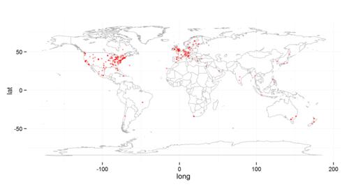 Geocoding location data with dismo | R-bloggers