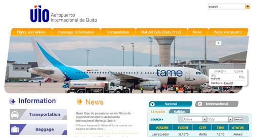 página web del nuevo aeropuerto mariscal Sucre en inlgés