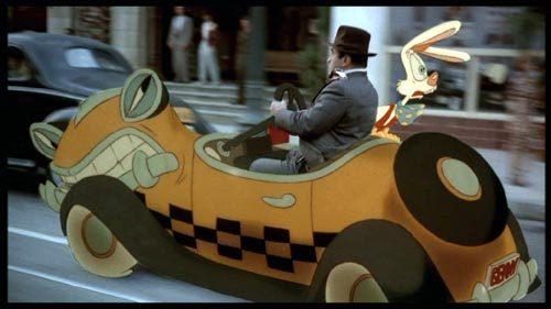 roger rabbit e l'investigatore Eddie Valiant sul taxi Benny The Cab