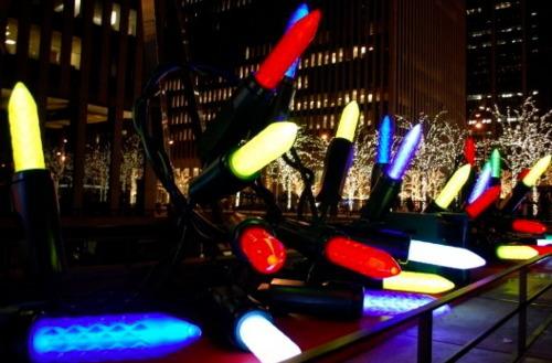 A festive light display near Radio City Music Hall