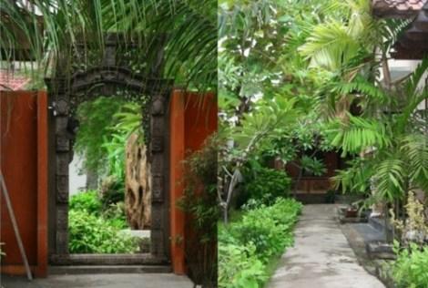 Allée et jardin du Sama Sama Bungalows - Gili Trawangan, Lombok