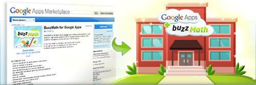 BuzzMath marketplace listing screenshot and a school using using Google Apps + BuzzMath