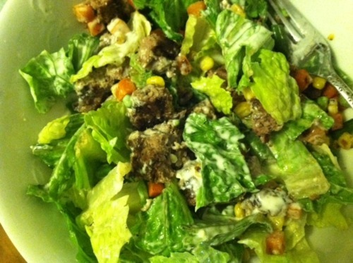 Hamburger Salad with Julienne Veggies