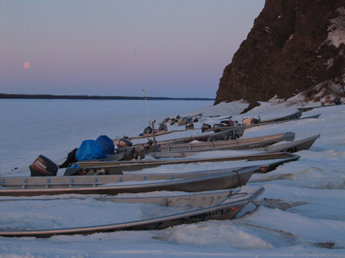 Yukon River boats waiting for break up - Winter