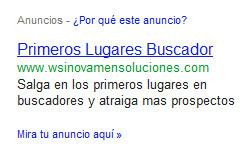 Anuncio de Google Adwords de un empresa de SEO en Ecuador