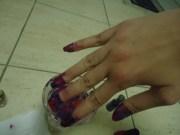tie-dye nails water marble