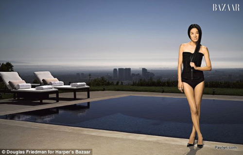 Vera Wang during swimsuit photoshoot for Harper's Bazaar
