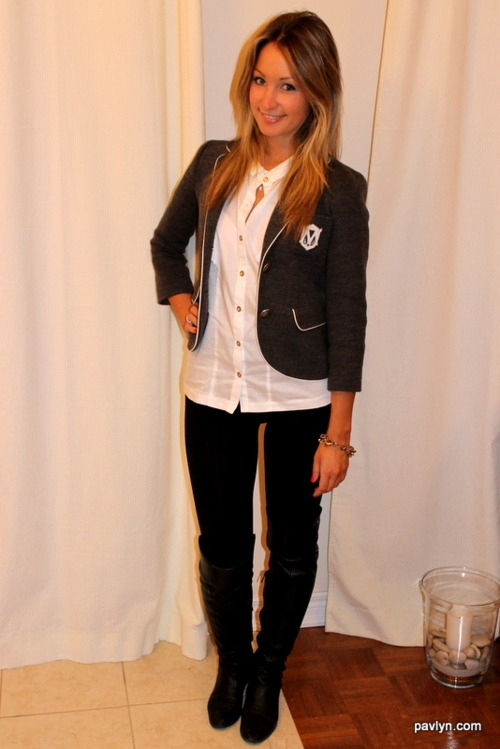 Sporting the equestrian Club Monaco emblem blazer