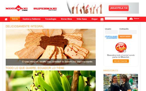 Sitio del Supermaxi - Megamaxi en la web
