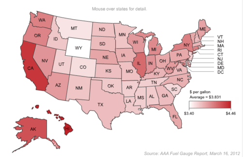 Visualizing Gas Prices By State Income And Time The Daily Viz