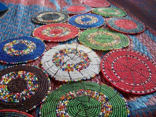 Coasters, laid-out on the mat in Tanzania