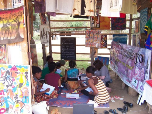 Chidi's arts/crafts stall, with the group