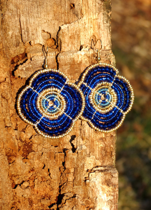 Cobalt and Gold Maasai Beaded Earrings by Hieropice