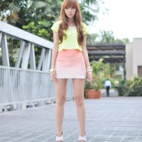 Yellow Cropped Top X Ombre Skirt