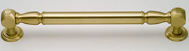 Here's a grab bar with finials in a polished brass finish