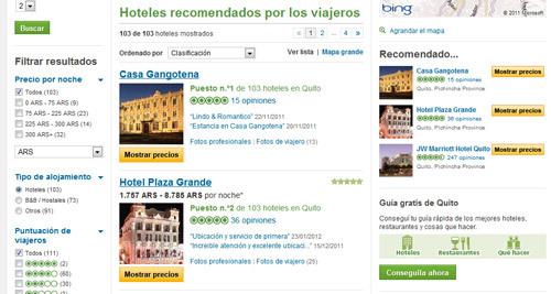 Sitio web de tripadvisor con hoteles en Quito