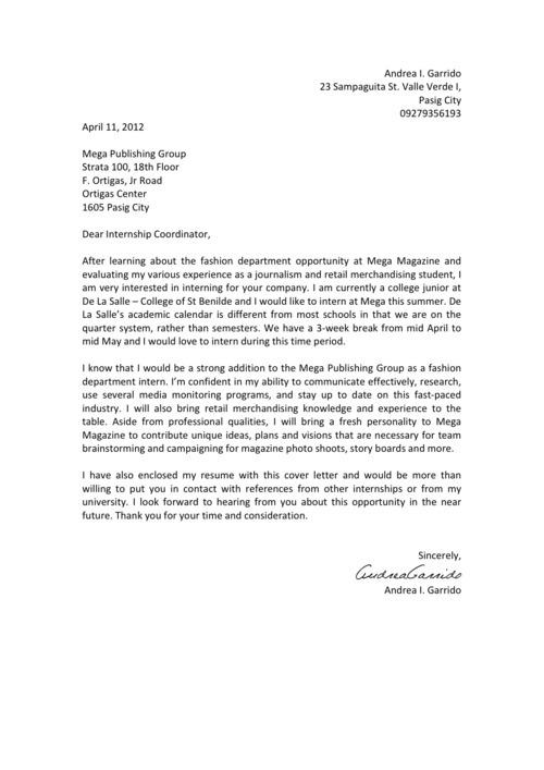 magazine internship cover letters
