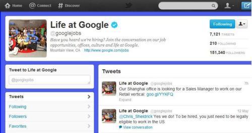 Google Jobs Twitter Account