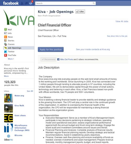 Kiva Facebook Page