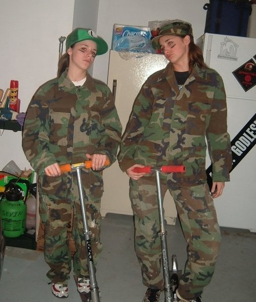 Best friend Jen and me geared up for our midnight scootering game. It was intense enough for camo.
