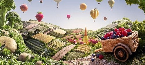 This is an image off google of fruit as hot air balloons.