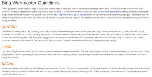 Guía del SEO para Bing