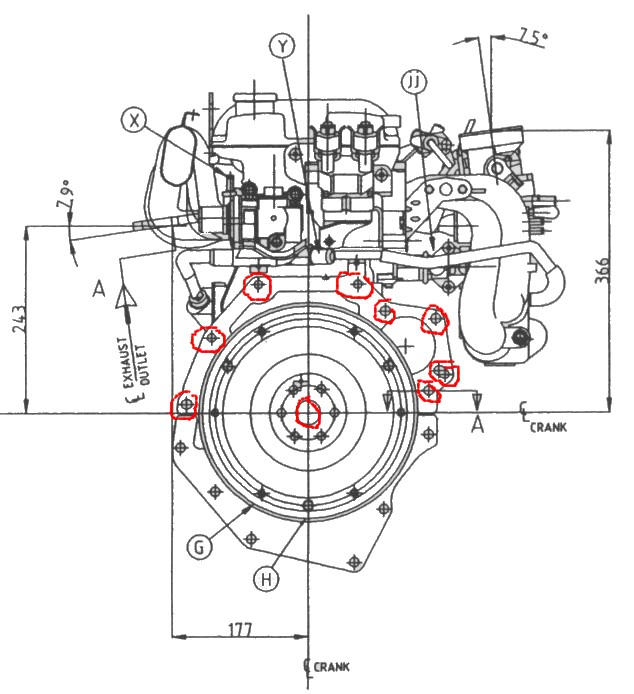 Ford bellhousing bolt pattern drawing