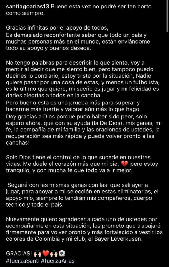 Santiago Arias, tras la terrible lesión: 'Me duele el corazón más que mi pie'