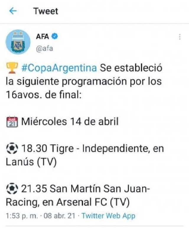 Racing Independiente Copa Argentina