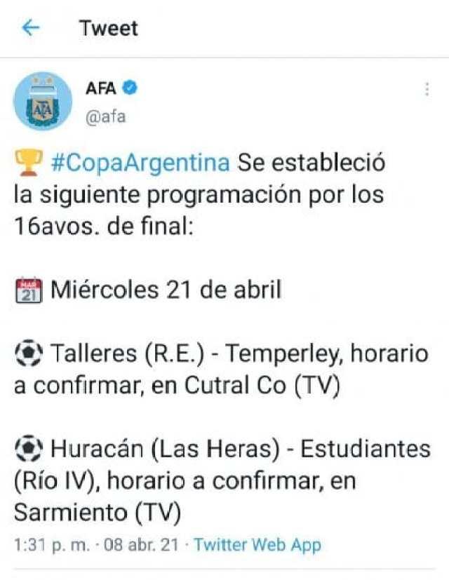 Otros horarios Copa Argentina