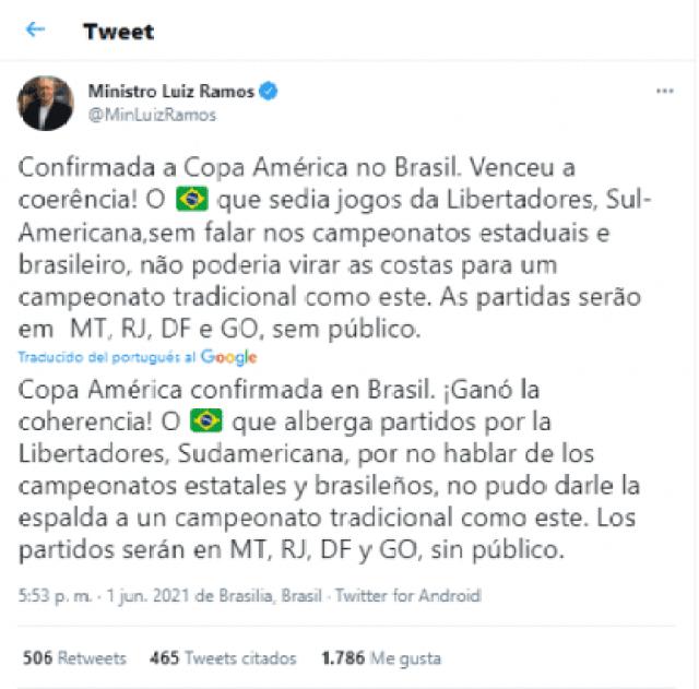 jefe de gabinete bolsonaro tweet