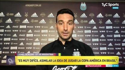 Scaloni, en contra de que la Selección Argentina juegue la Copa América en Brasil