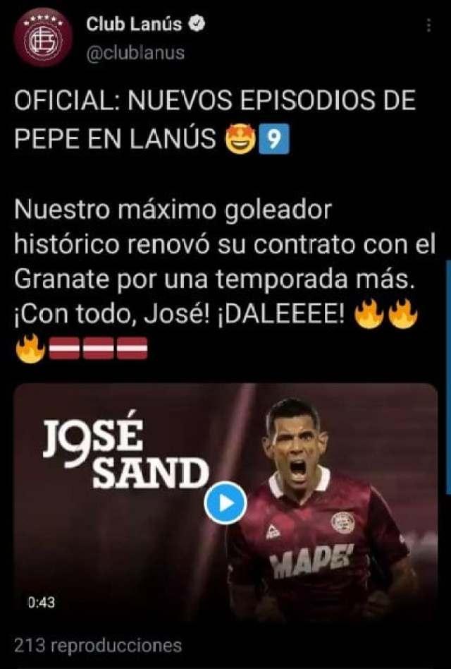 Pepe Sand renovó con Lanús